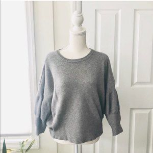 Gracia Grey Puff Sleeve Short Crop Sweater